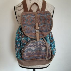 Toms Backpack Woven Southwest Aztec Leather Bag